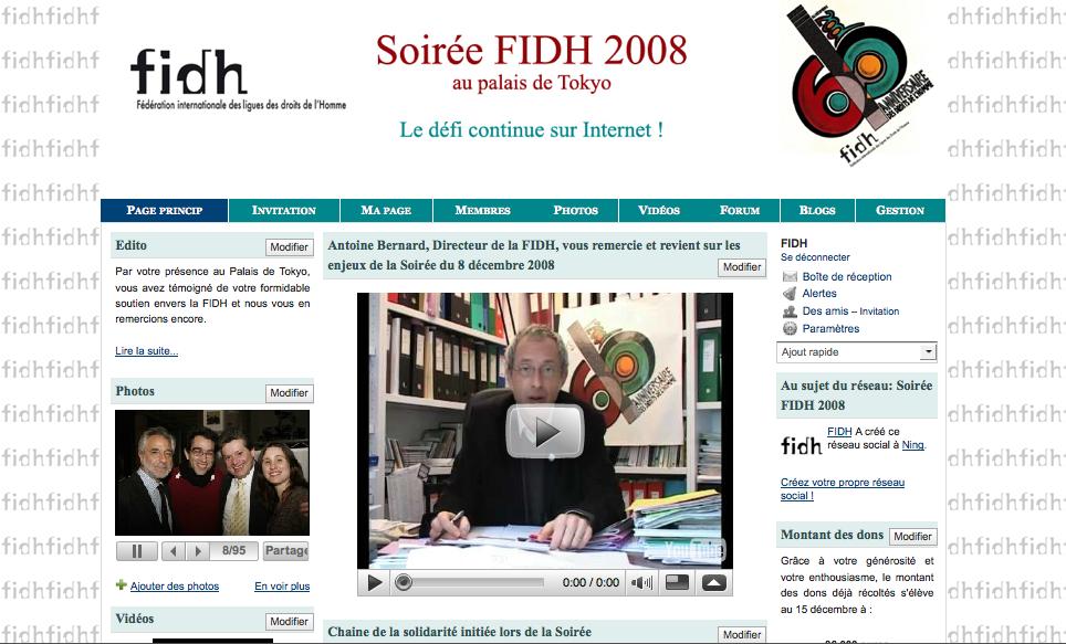 """Ning """"Soirée FIDH 2008"""""""
