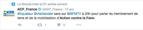 ActioncontrelaFaim_Tweet ITW BFMTV